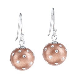 La Preciosa Sterling Silver and Bronze Enamel Crystal Circle Earrings