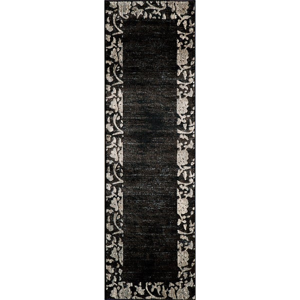 Illusion Power-loomed Border Charcoal Rug (2'3 x 7'6)
