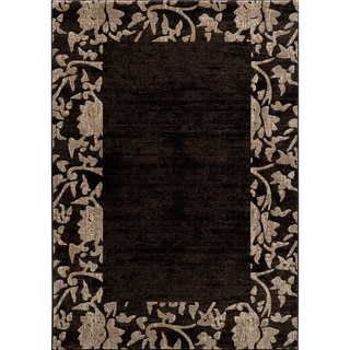 Illusion Power-loomed Border Charcoal Rug (3'11 x 5'7)