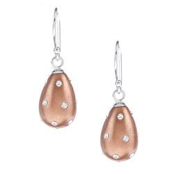 La Preciosa Sterling Silver and Enamel Crystal Teardrop Earrings