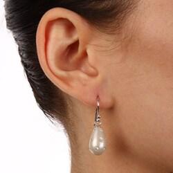 La Preciosa Sterling Silver and Silver Enamel Crystal Teardrop Earrings - Thumbnail 2