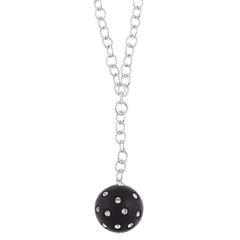 La Preciosa Sterling Silver and Black Enamel Crystal Circle Necklace