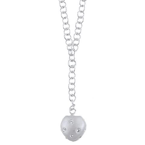 La Preciosa Sterling Silver and Silver Enamel Crystal Heart Necklace