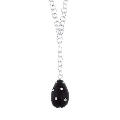 La Preciosa Sterling Silver and Black Enamel Crystal Teardrop Necklace