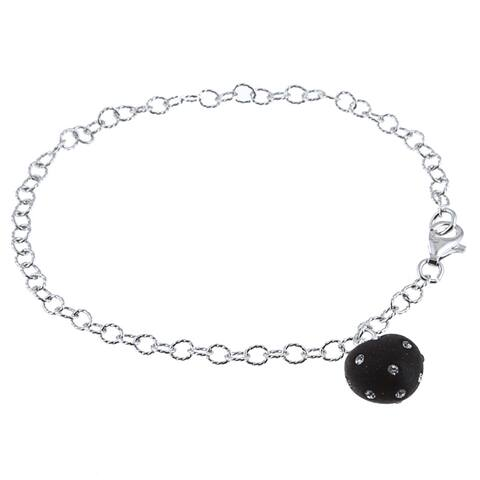 La Preciosa Sterling Silver and Black Enamel Crystal Heart Bracelet