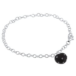 La Preciosa Sterling Silver and Black Enamel Crystal Heart Bracelet