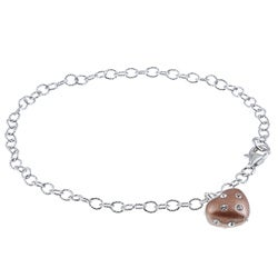 La Preciosa Sterling Silver and Bronze Enamel Crystal Heart Bracelet