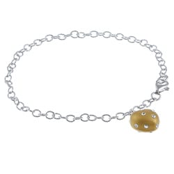 La Preciosa Sterling Silver and Gold Enamel Crystal Heart Bracelet