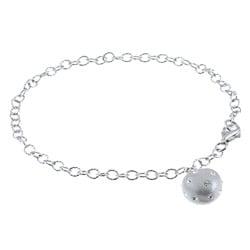 La Preciosa Sterling Silver and Silver Enamel Crystal Heart Bracelet