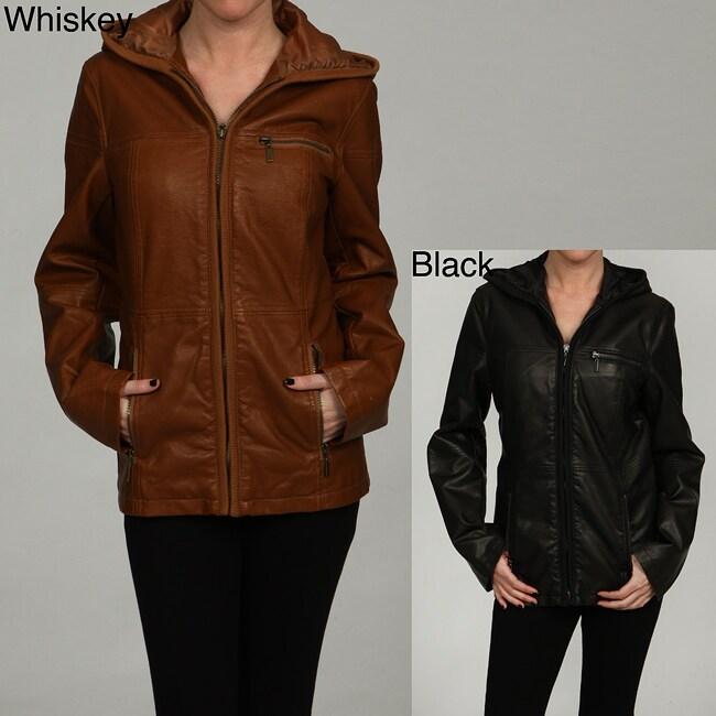 Esprit Women's Zippered Front Faux Leather Coat