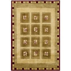 "Hand-Knotted Mandara Geometric Gold New Zealand Wool Area Rug (5'7"" x 7'9"") - Thumbnail 1"