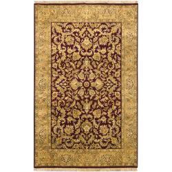 Hand-knotted Mandara Burgundy Oriental New Zealand Wool Rug (6' x 9') - Thumbnail 2
