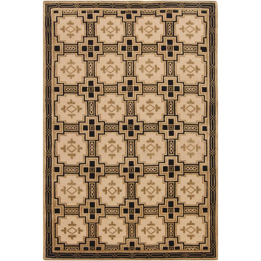 Hand-knotted Mandara Southwestern Beige New Zealand Wool Rug (6' x 9')