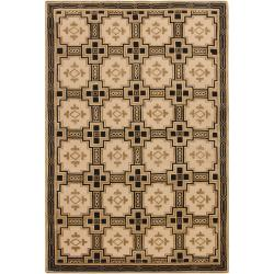 Hand-knotted Mandara Southwestern Beige New Zealand Wool Rug (6' x 9') - Thumbnail 1