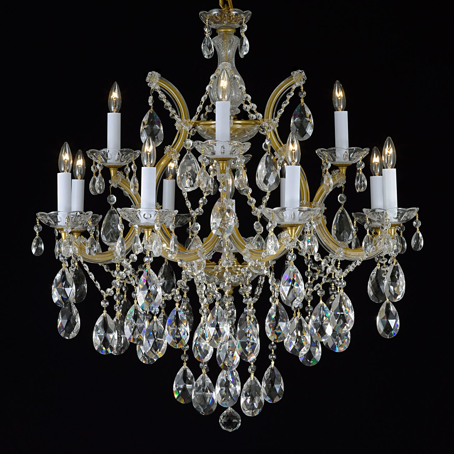 Gallery Maria Theresa 13-light 2-tier Antique French Gold...