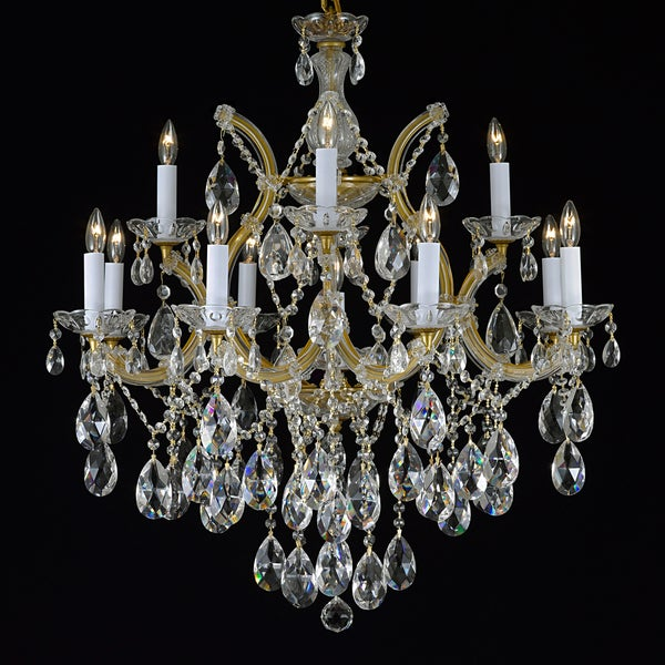 Gallery Maria Theresa 13-light 2-tier Antique French Gold/ Crystal Chandelier