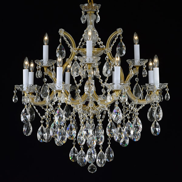 Gallery Maria Theresa 13-light 2-tier Antique French Gold/ Crystal  Chandelier - Shop Gallery Maria Theresa 13-light 2-tier Antique French Gold