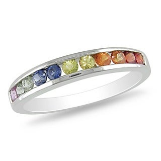 Miadora 10k White Gold Multi-colored Sapphire Ring