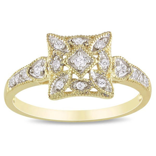 Miadora 10k Yellow Gold 1/6ct TDW Diamond Ring