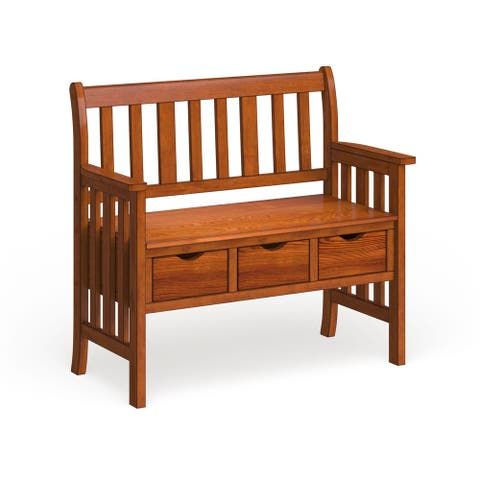 Furniture of America Gure Country Oak Solid Wood Storage Bench