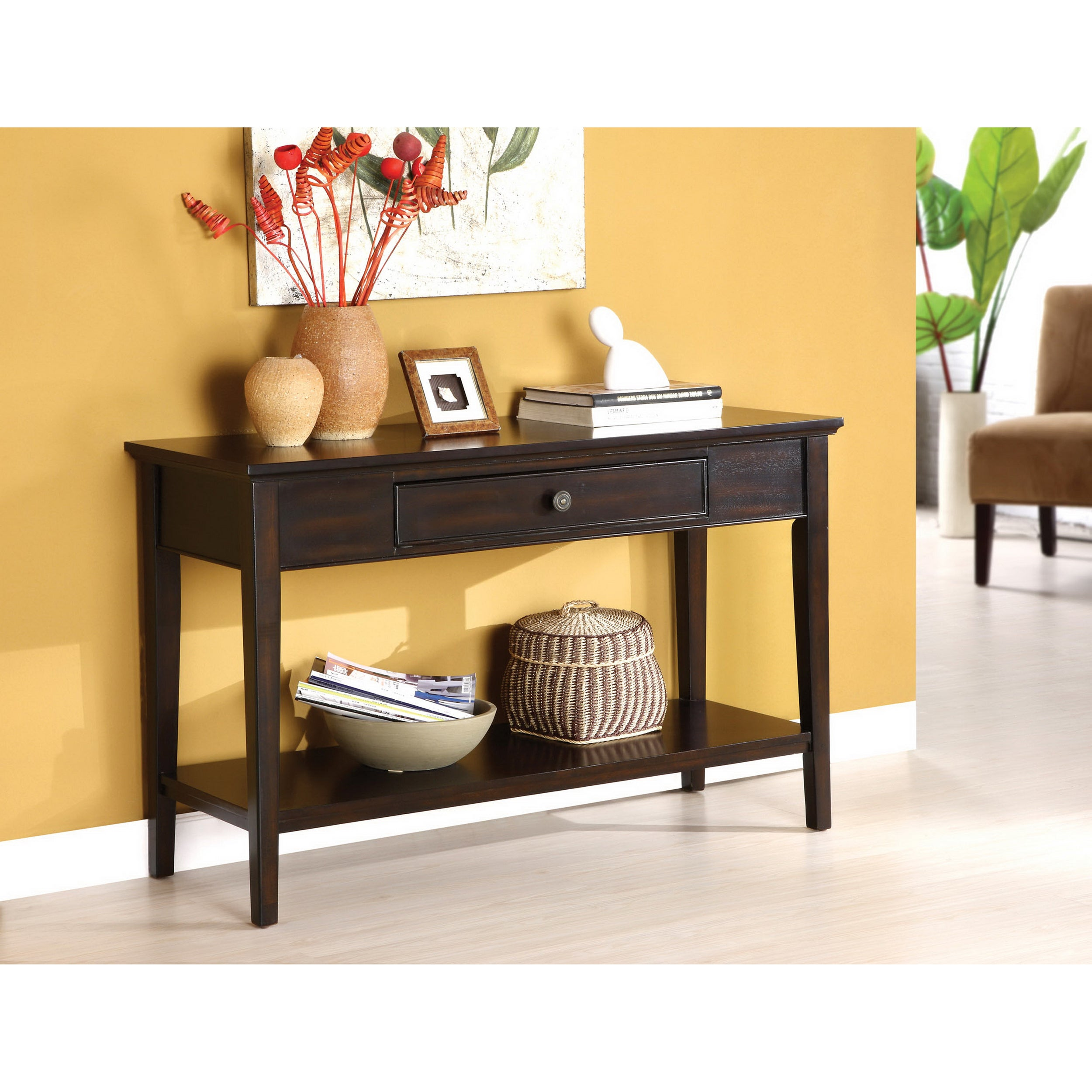 Furniture of America Karlyn Dark Cherry Sofa/ Entryway Table