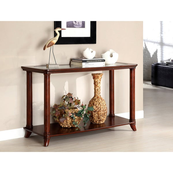 Furniture of America Hallow Beveled Glass Top Console/ Sofa Table