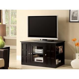 Furniture of America Woodwind Black Wood TV Console