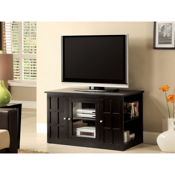 Furniture of America Woodwind Black Wood TV Console