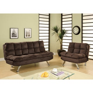 Furniture of America Morina 2-piece Microfiber Sofa/ Sofabed and Chair Set