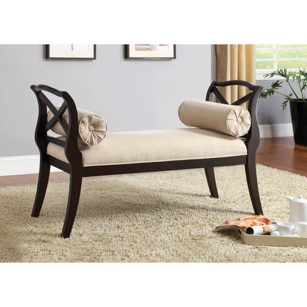 Shop Furniture Of America Mont Transitional Espresso Fabric Settee Bench Overstock 5675926