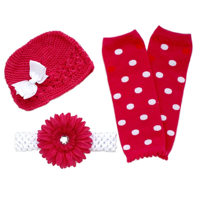 Headbandz Hot Pink/ White 5-piece Baby Accessory Pack