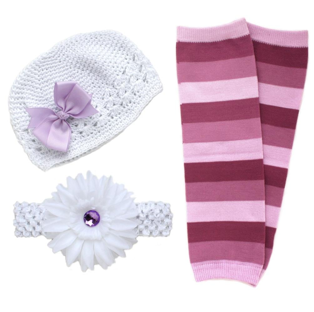 Headbandz White/ Lavender 5-piece Baby Accessory Pack