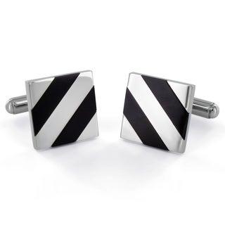 West Coast Jewelry Stainless Steel Black Onyx Diagonal Inlay Cuff Links