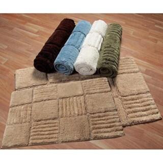 Checks Collection Cotton 2-piece Bath Rug Set - includes BONUS step out mat