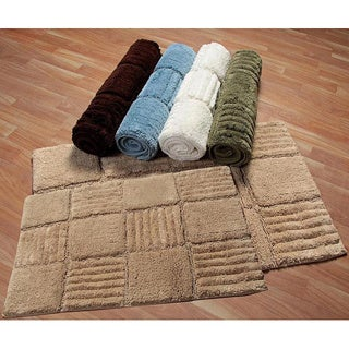 Checks Collection Cotton 2-piece Bath Rug Set - includes BONUS step out mat