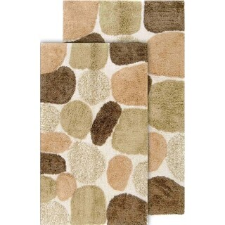 Rockway Pebbles Cotton 2 Piece Bath Rug Set With Bonus Step Out Mat