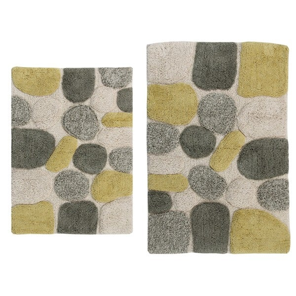 Rockway Collection Cotton Non-Skid Stone Design 2-piece Bath Rug Set - includes BONUS step out mat