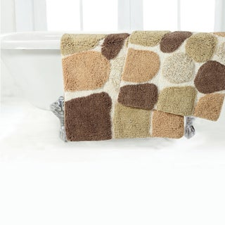 Rockway Pebbles Cotton 2-piece Bath Rug Set with BONUS step out mat (4 options available)