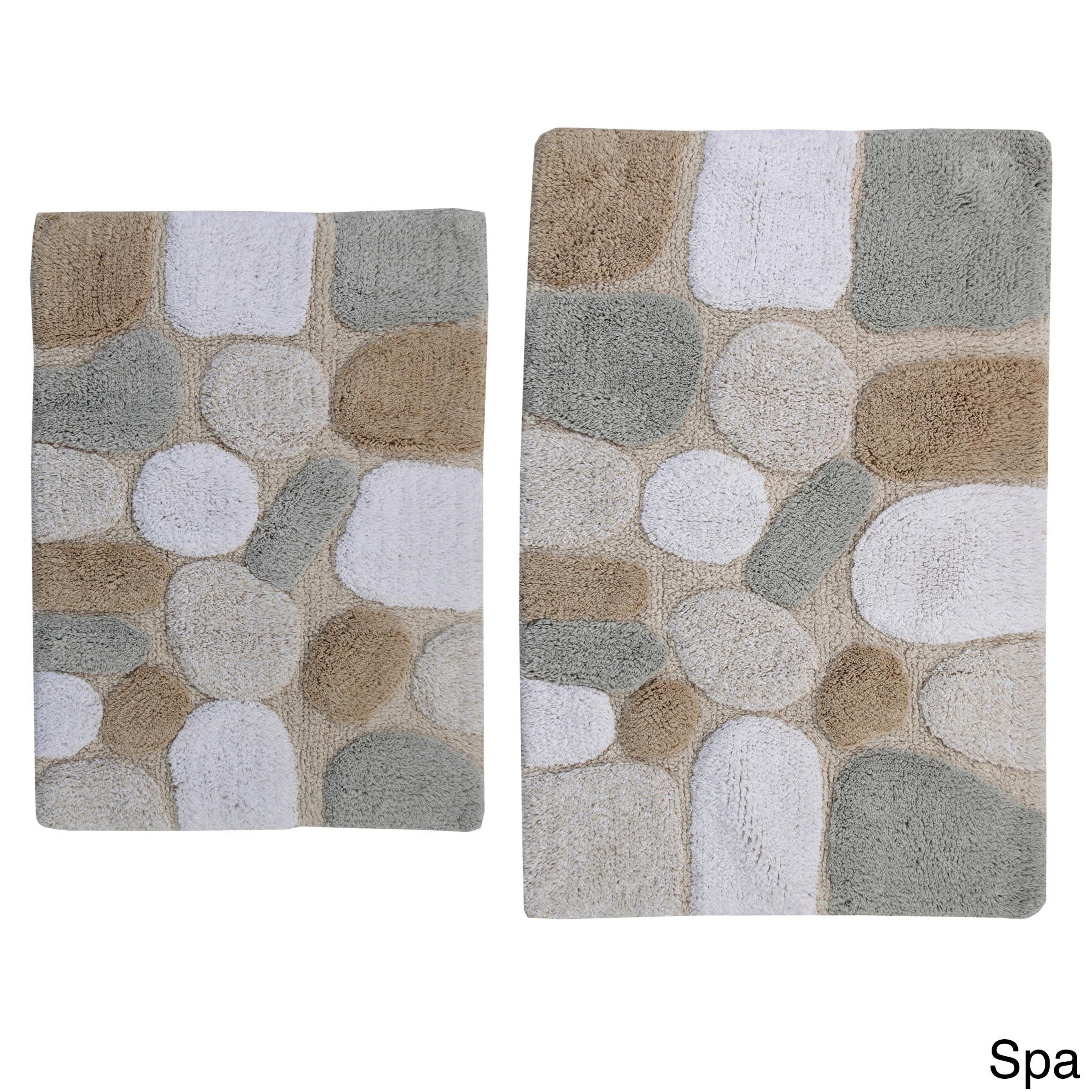 rockway pebbles cotton 2-piece bath rug set with bonus step out