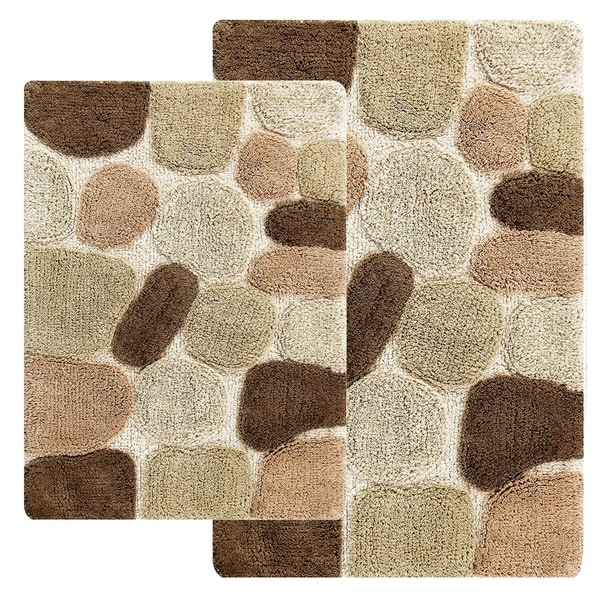 Charmant Rockway Pebbles Cotton 2 Piece Bath Rug Set With BONUS Step Out Mat