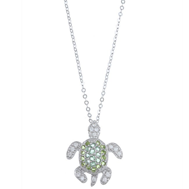 La Preciosa Sterling Silver Green Cubic Zirconia Turtle Necklace