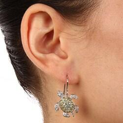 La Preciosa Sterling Silver Green Cubic Zirconia Turtle Earrings - Thumbnail 2