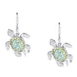 La Preciosa Sterling Silver Green Cubic Zirconia Turtle Earrings