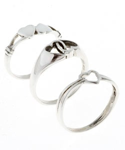 Journee Collection  Sterling Silver Heart Three-ring Set - Thumbnail 1