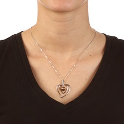 La Preciosa Sterling Silver Chocolate FW Pearl Heart Necklace (8 mm)