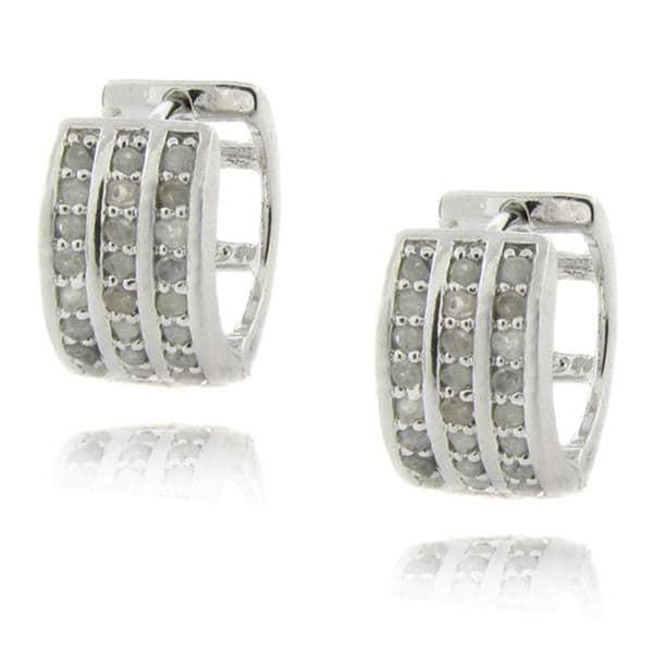 Sterling Silver 1/2ct TDW Diamond 3-row Hoop Earrings (I-J, I2-I3)