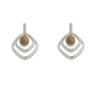 La Preciosa Sterling Silver Brown FW Pearl Square Earrings (5.5 mm) - Brown