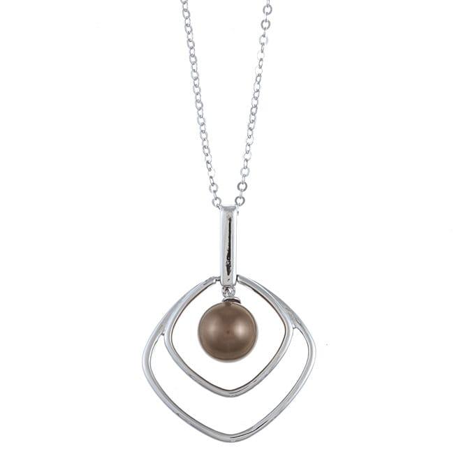 La Preciosa Sterling Silver Brown FW Pearl Square Necklace (8 mm)