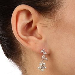La Preciosa Sterling Silver Pearl and CZ Flower Earrings (3.5 mm) - Thumbnail 2