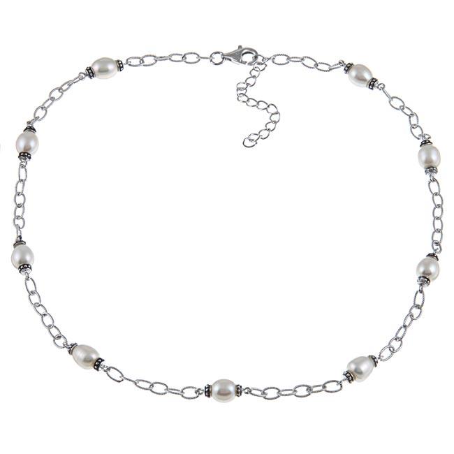 La Preciosa Sterling Silver Freshwater Pearl Necklace (6-8 mm)